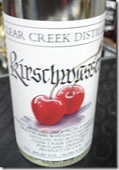 Kirschwasser is a clear cherry brandy. I bought my bottle at Randall's on Jefferson in STL.